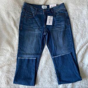 For the Republic Denim Med Wash Skinny Capri Jeans